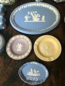 Estate Wedgwood Jasperware 20 Pc Lot Blue, Green, Yellow, Lilac and Brown Shell
