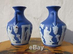 Exquisite Matching Pair Wedgwood Dark Blue Jasper Ware 7 Portland Vases, c. 1840