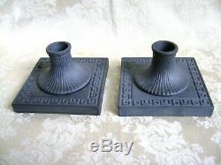 Exquisite Pair Of Wedgwood Black Basalt Jasperware Candlesticks