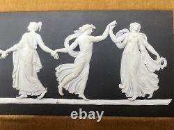 Extremely Rare Antique Wedgwood Black Jasperware Dancing Hours Plaque & Frame