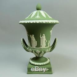 Fine Wedgwood Green Jasper Ware Campana Form Pedestal Vase C. 1969