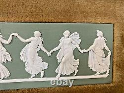 Framed Wedgwood Dancing Hours Plaque 1974 Green Jasperware Plaque