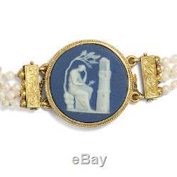 Gedenke mein, antikes Wedgwood Perlen Gold Armband Schweden 1818 / Jasper Ware