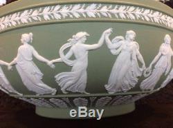 Green Wedgwood Jasperware Dancing Hours Bowl 10 1/4 1956