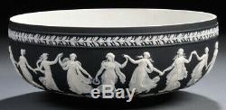 Incredible Rare Antique Black Jasperware Wedgwood Dancing Hours Bowl