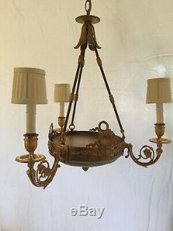 Jasperware Wedgwood Green & Gilt Dore Bronze Neoclassical 3 Light Chandelier