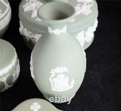 Job Lot 13 Green Wedgwood Jasper Ware Items Pots Trays Jug Etc