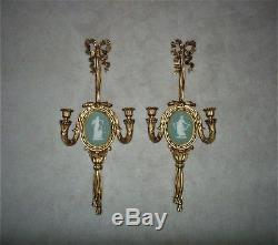 LARGE Pair Antique Victorian Wedgwood Jasperware Candle Wall Sconces