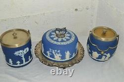 LOT Antique/Vintage Wedgwood Jasperware Cheese Dome Cake Plate +Buscuit Jars