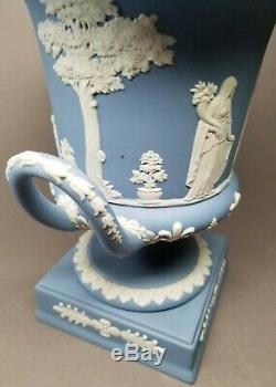 Large 11.25 Wedgwood Campana Lavender Pale Blue Jasperware Pedestal Urn with Lid