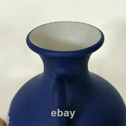 Large 19th Century Wedgwood Dark Blue Jasperware 8.25 Portland Vase