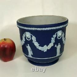 Large 19th Century Wedgwood Dark Blue Jasperware Cache Pot Planter