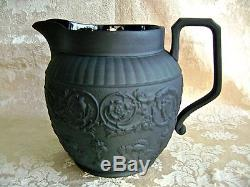 Large Antique Wedgwood Black Basalt Jasperware 5 3/4 Pitcher