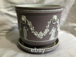 Large Lilac Dipped Wedgwood Jasperware 7 Inch Diameter Jardiniere And Stand