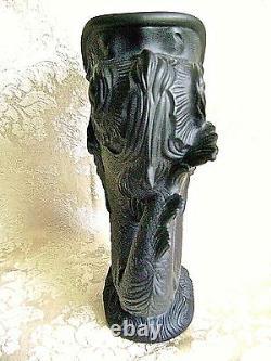 Large Rare Wedgwood Black Jasper Ware Gurgle Fish Dolphin Vase