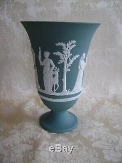 Large Rare Wedgwood Teal Jasper Ware 7 1/2 Pedestal Vase