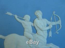 Large Wedgwood Blue Jasperware Plaque 1890 Framed Achilles Delivered Chiron Cent
