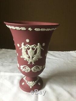 Large Wedgwood Crimson Wine Jasper Ware Arcadian Vase 7.5 high