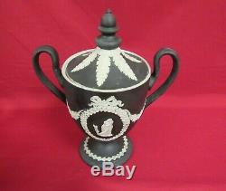 Large Wedgwood Jasperware Lidded Urn Vase Black Basalt Jasper Ware
