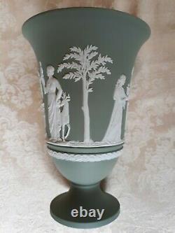Large Wedgwood Sage Green Jasper Ware 7 1/2 Pedestal Vase With Flower Frog