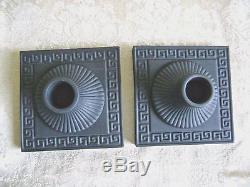 Lovely And Rare Pair Of Wedgwood Black Basalt Jasperware Candlesticks