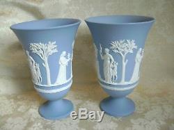Lovely Large Pair Of Wedgwood White On Blue Jasper Ware 7 1/2 Pedestal Vases