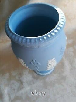 Lovely Pair Of Wedgwood Blue Jasper Ware 8 Bountiful Vases