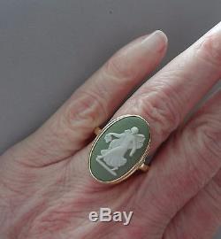 Lovely Vintage 14k Yellow Gold Wedgwood Green Jasperware Cameo Ring 69b