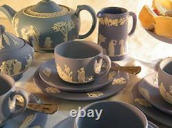 Magnificent Wedgwood Blue Jasper Ware 22 piece Afternoon Tea Set Beautiful