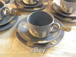 Magnificent Wedgwood Blue Jasper Ware 22 piece Afternoon Tea Set Beautiful