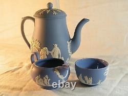 Magnificent Wedgwood Blue Jasper Ware 22 piece Coffee Set, Beautiful!