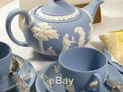 Magnificent Wedgwood Blue Jasper Ware Afternoon Tea for two, Stunning
