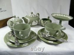 Magnificent Wedgwood Green Jasper Ware 12 piece Afternoon Tea Set Beautiful