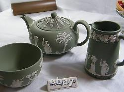 Magnificent Wedgwood Green Jasper Ware 22 piece Afternoon Tea Set Beautiful