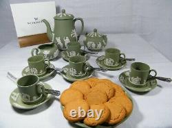 Magnificent Wedgwood Green Jasper Ware 22 piece Coffee Set, Beautiful!