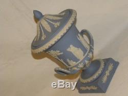 Magnifique Grande Urne Vase En Porcelaine Bleu Wedgwood Jasperware Decor Antique