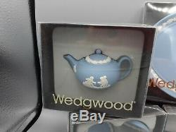 Mini Tea Set by Wedgewood Blue Jasperware 11 Pieces in Original Boxes