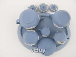 Mini Wedgwood Blue Miniature Jasper Lidded Tea Coffee Set & Tray 1st Quality