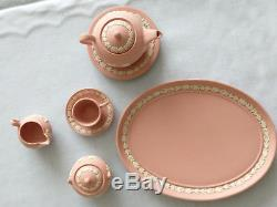 Miniatur Teaset Teeservice Wedgwood Jasperware Jaspis rose&weiss / pink&white