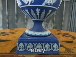 Miniature Wedgwood Blue Jasperware Dancing Hours Bacchus Heads Urn Vase c. 1880