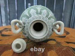 Miniature Wedgwood Green Jasperware Dancing Hours Bacchus Heads Urn Vase c. 1867