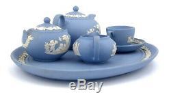 Miniature Wedgwood Jasperware Tea Set Powder Blue