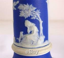 N866 Pair Antique Wedgwood Jasperware Dark Blue Dip Candlesticks