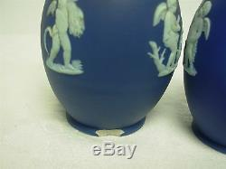 PAIR OF ANTIQUE WEDGWOOD ENGLAND DARK BLUE JASPERWARE 5 BUD VASES with CHERUBS