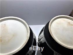 Pair(2)c. 1877 Wedgwood Black Dip Jasperware 10.5 Portland Vase Code Csf