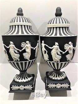Pair(2) -wedgwood Jasperware Black Dancing Hours/engine Turning Pedestal Vases