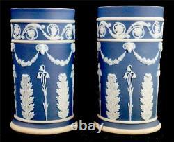 Pair Antique 19th Century Wedgwood Dark Blue Dip Jasperware Spill Vases