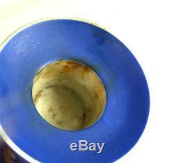 Pair Antique Wedgwood Jasperware Dark Blue Dip Candlesticks