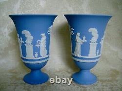 Pair Of Large Wedgwood Blue Jasper Ware 7 1/2 Pedestal Vases