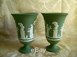 Pair Of Large Wedgwood Sage Green Jasper Ware 7 1/2 Pedestal Vases